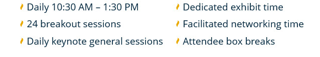 Daily 10:30 AM - 1:30 PM | 24 breakout sessions | Daily keynote general sessions | Dedicated exhibit time | Facilitated networking time | Attendee box breaks